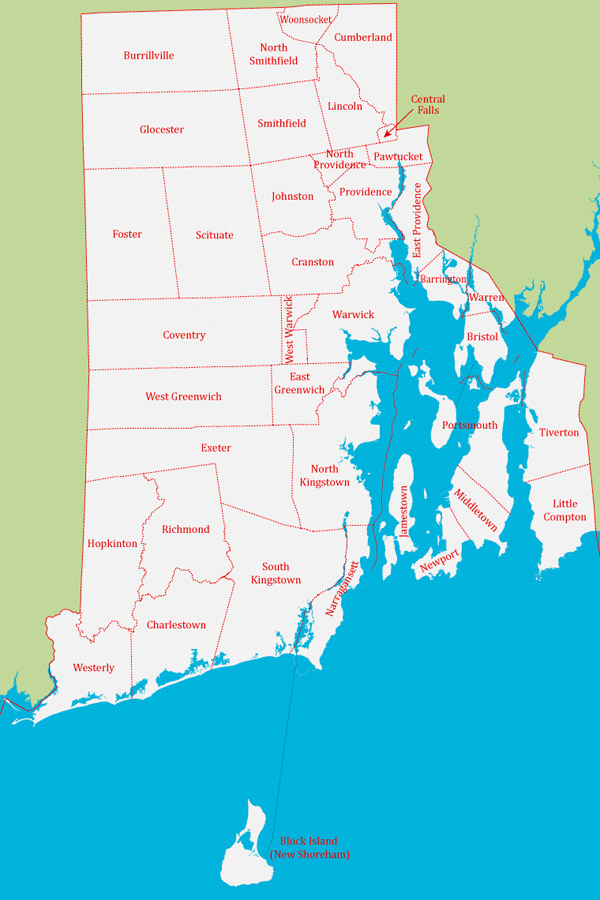 Detailed administrative map of Rhode Island state.