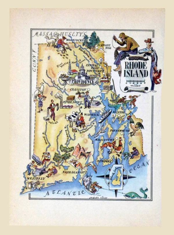 Detailed tourist illustrated map of Rhode Island state.