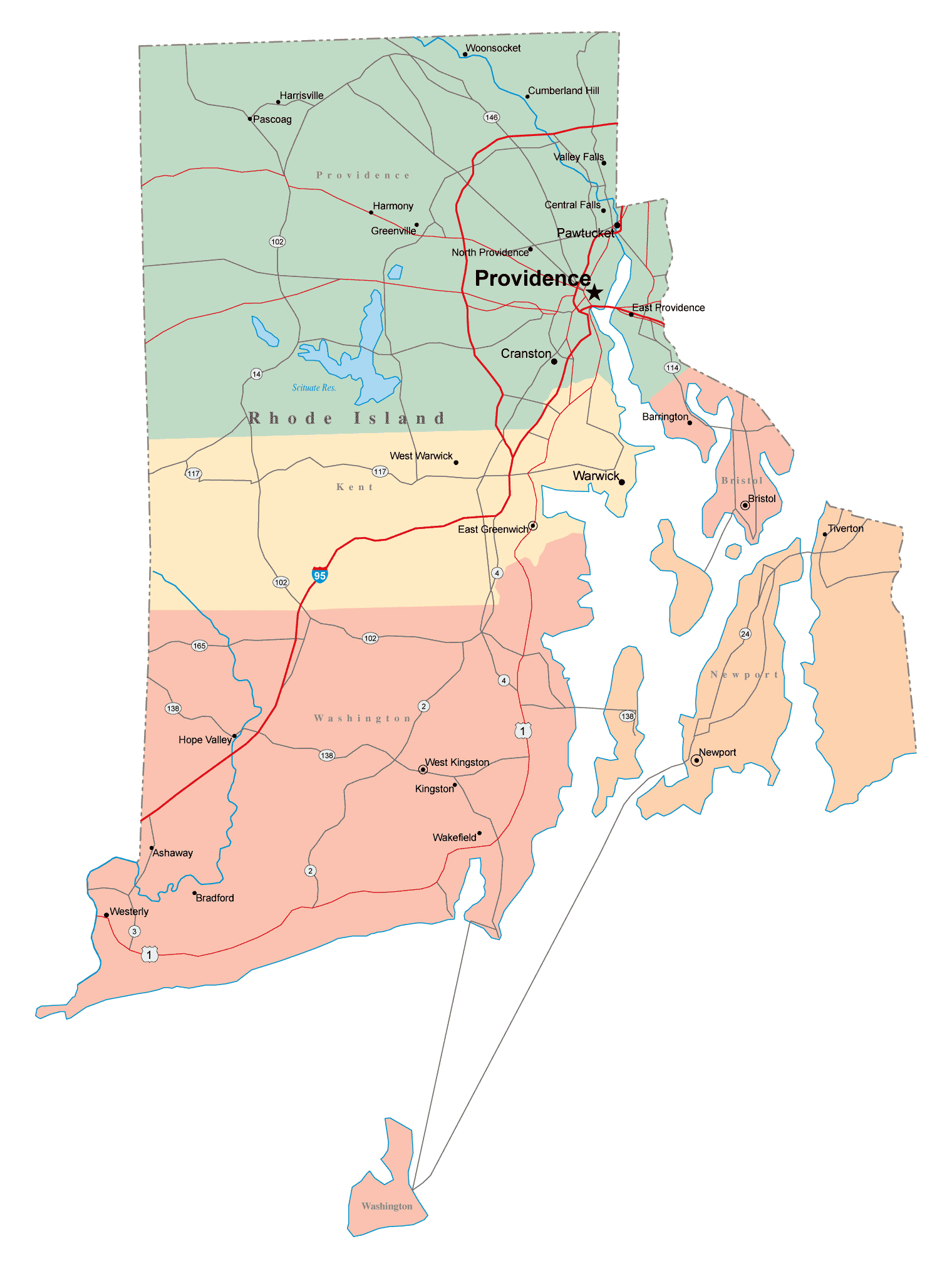 Large Administrative Map Of Rhode Island State With Roads - Rhode island usa map