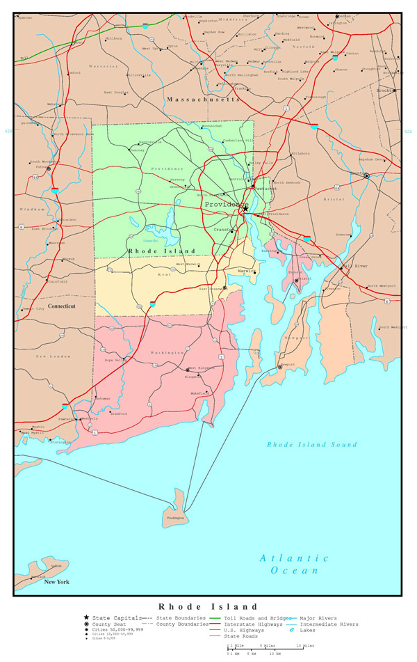 Large detailed administrative map of Rhode Island state with roads, highways and major cities.