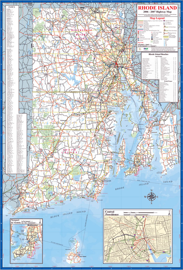 Large detailed highway map of the state of Rhode Island.