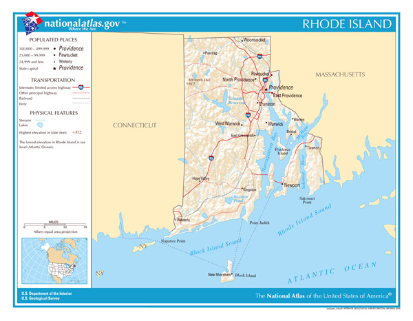 Large detailed map of Rhode Island state.