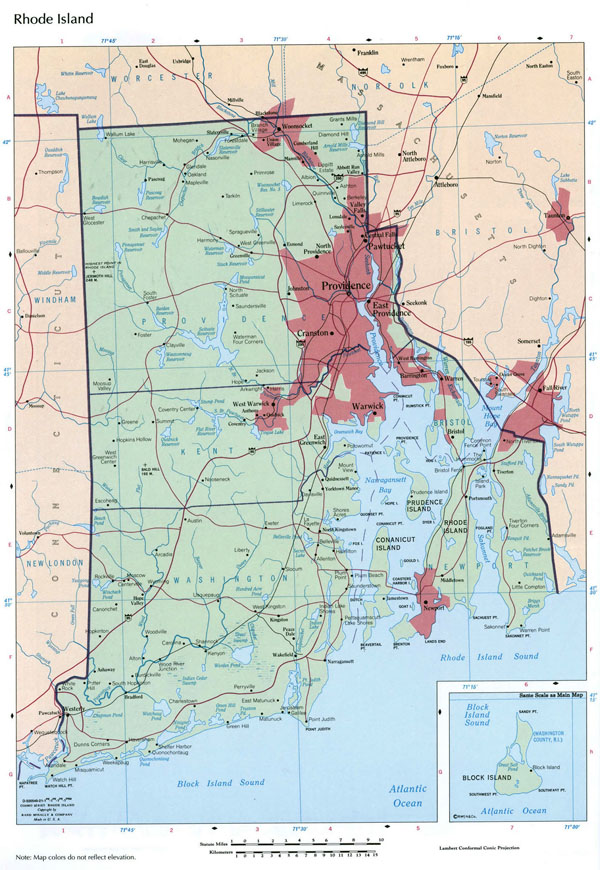 Large detailed map of Rhode Island state with administrative divisions, roads and cities.