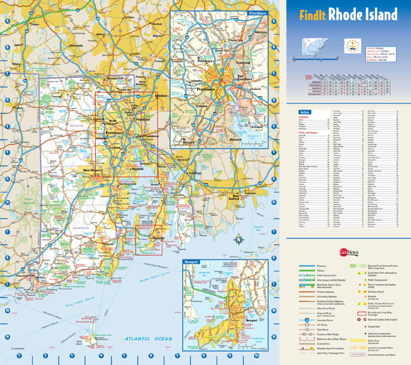 Large detailed roads and highways map of Rhode Island state with national parks and all cities.