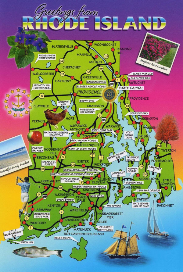 Large detailed tourist map of Rhode Island state.