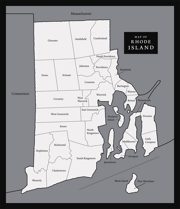 Large map of Rhode Island state. Rhode Island state large map.