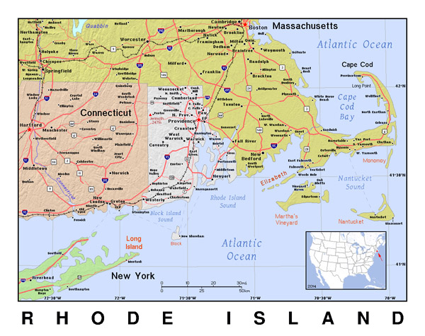 Large map of Rhode Island with relief. Rhode Island large map with relief.