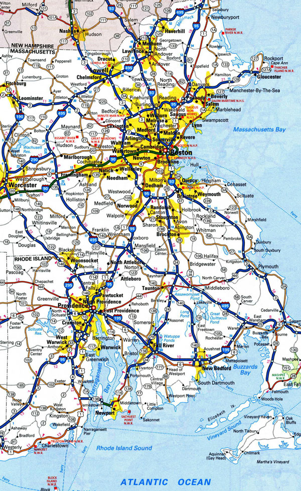 Large roads and highways map of Rhode Island state with cities.
