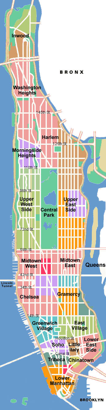 Schematic map of Manhattan. Manhattan schematic map.