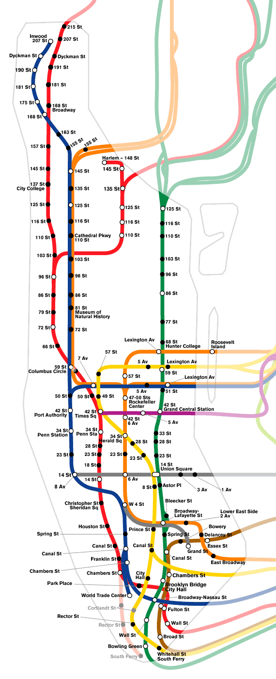 Schematic subway map of Manhattan. Manhattan schematic subway map