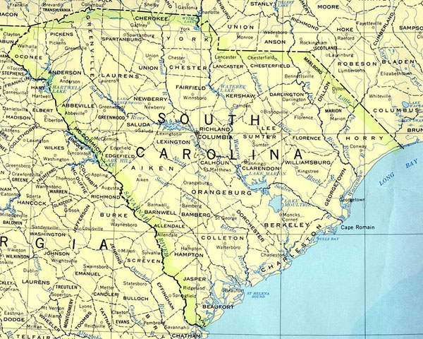 Detailed map of South Carolina state. South Carolina state detailed map.