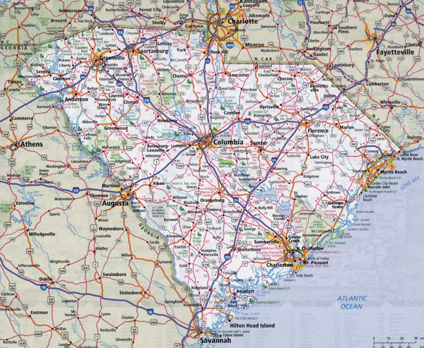 Large detailed roads and highways map of South Carolina state with national parks and cities.