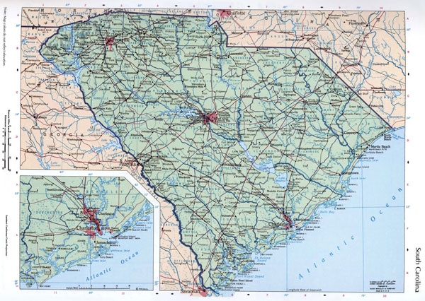 Large map of the state of South Carolina with cities, roads and highways.