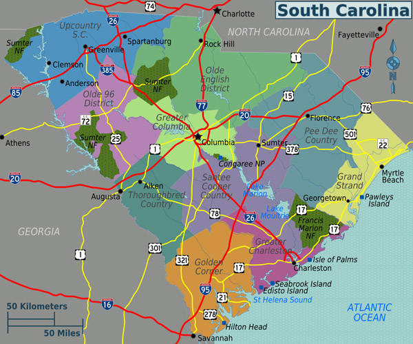 Large regions map of South Carolina state.