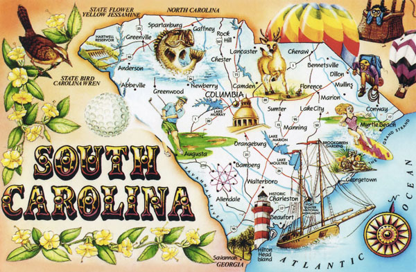 Large tourist illustrated map of South Carolina state.