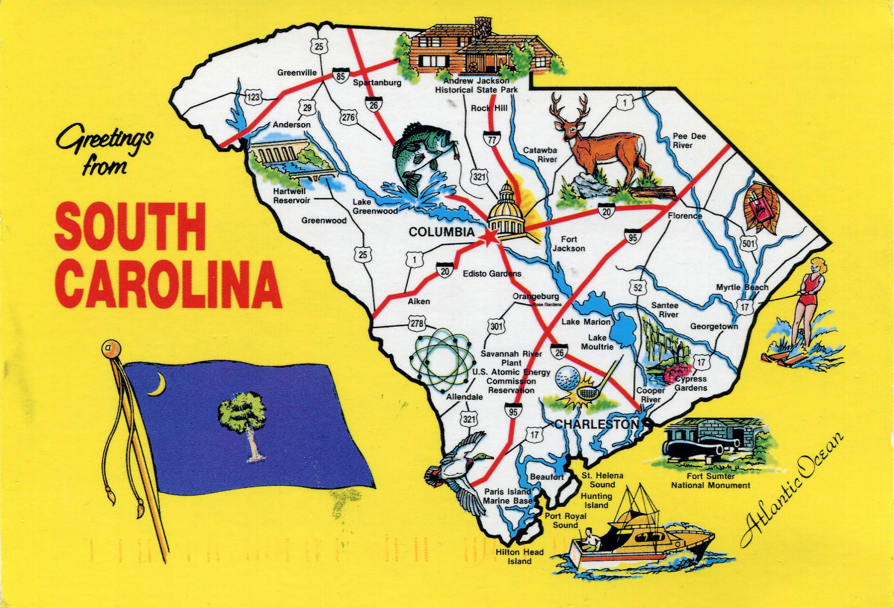 Large Tourist Illustrated Map Of The State Of South Carolina