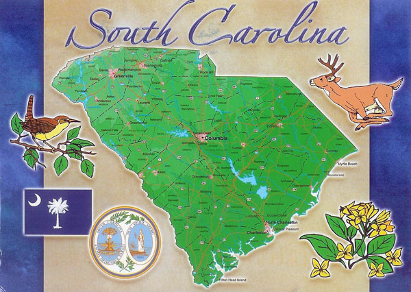 Postcard with map of South Carolina state.