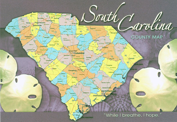 The state of South Carolina postcard with map.
