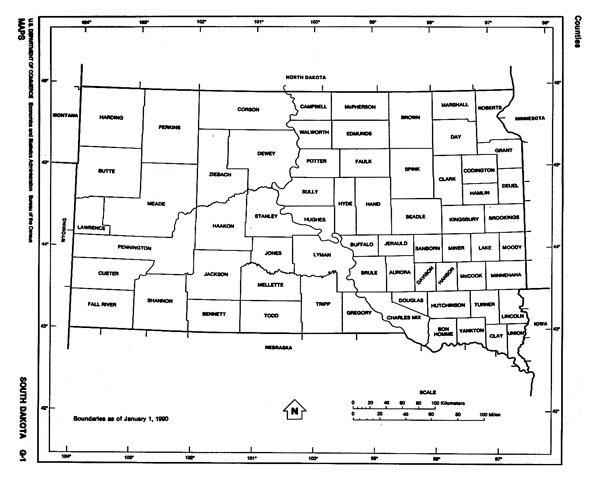 Administrative map of South Dakota state.