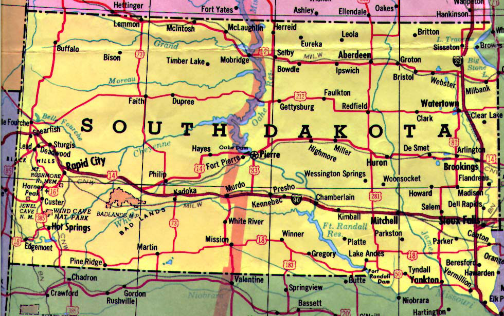 Detailed Map Of South Dakota State With Highways  Vidiani