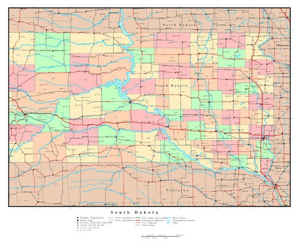 Large detailed administrative map of South Dakota with roads, highways and all cities.