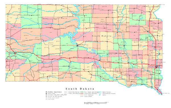 Large detailed administrative map of South Dakota with roads, highways and major cities.