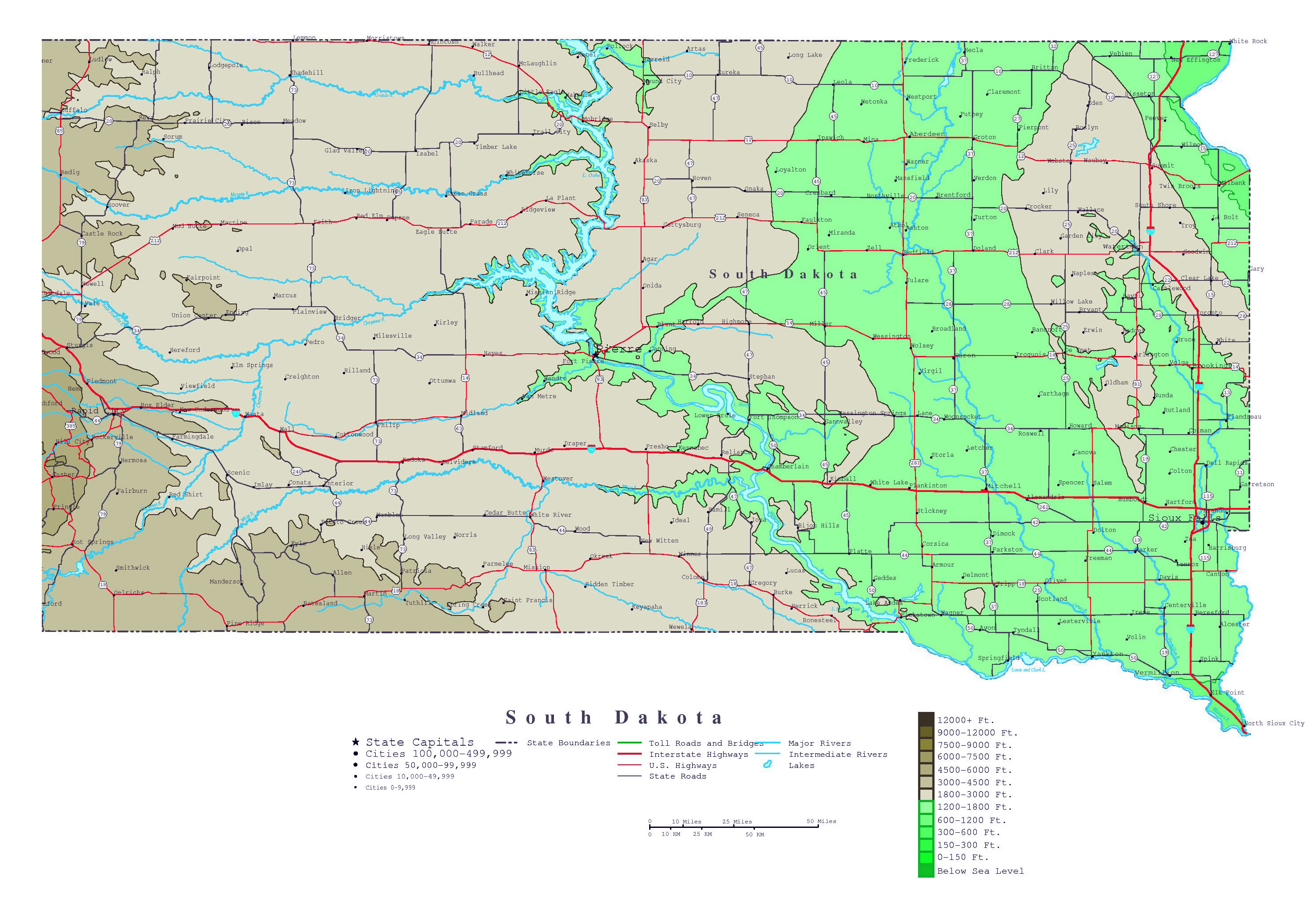 Large Detailed Elevation Map Of South Dakota State With Roads