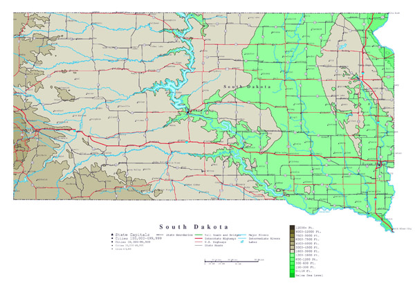 Large detailed elevation map of South Dakota state with roads, highways and major cities.