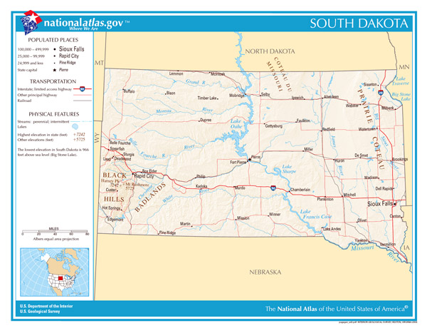 The state of South Dakota large detailed map.