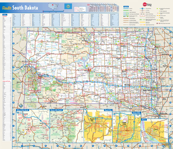 Large detailed roads and highways map of South Dakota state with national parks and cities.