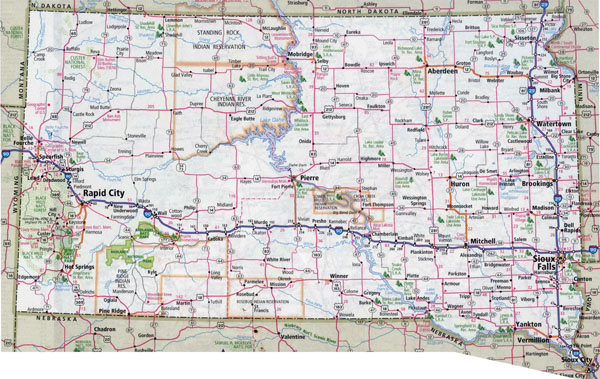 Large detailed roads and highways map of South Dakota with all cities.