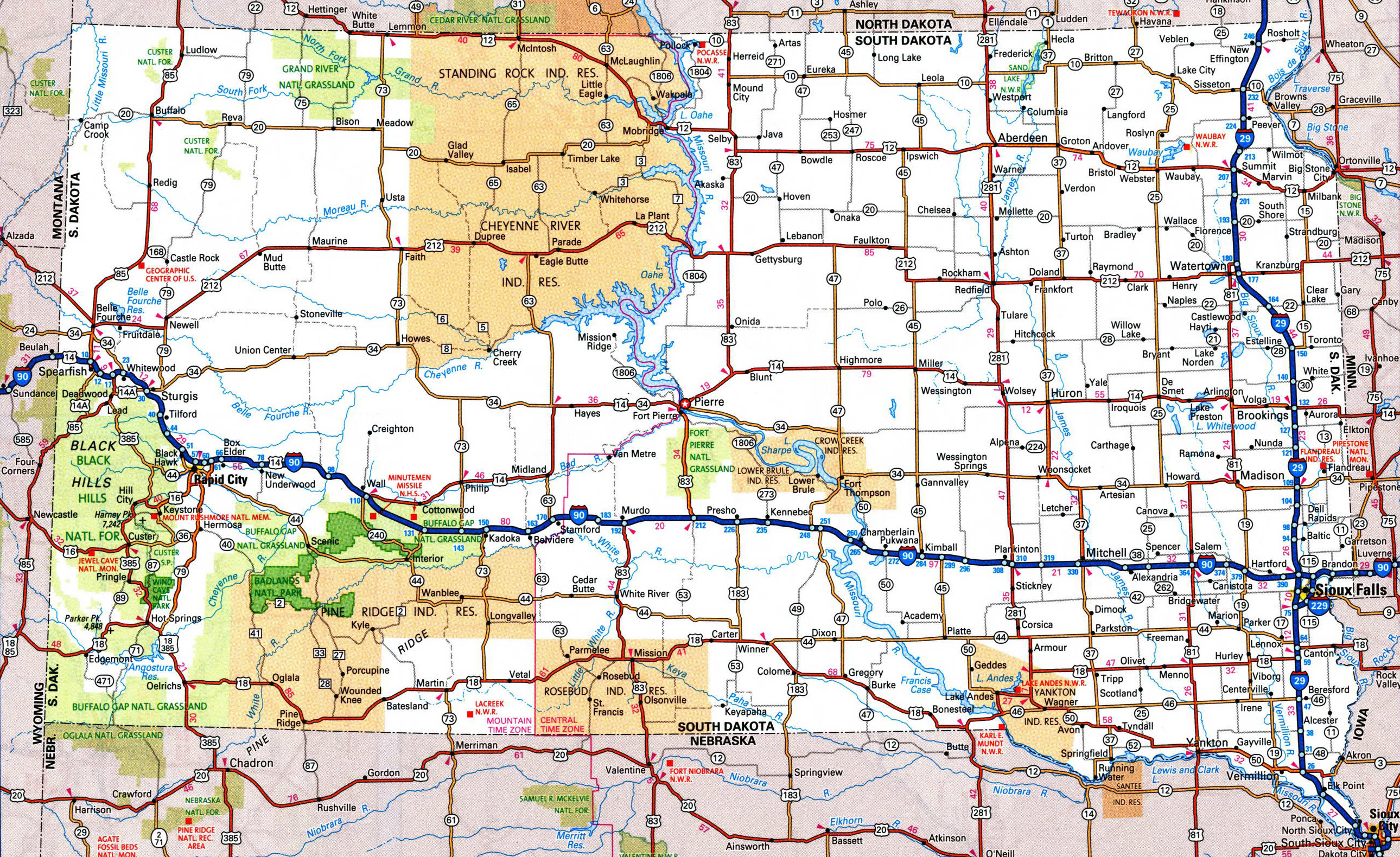 Large detailed roads and highways map of South Dakota with national
