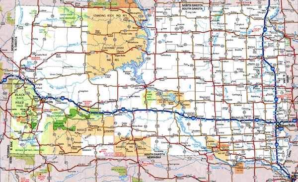 Large detailed roads and highways map of South Dakota with national parks and cities.