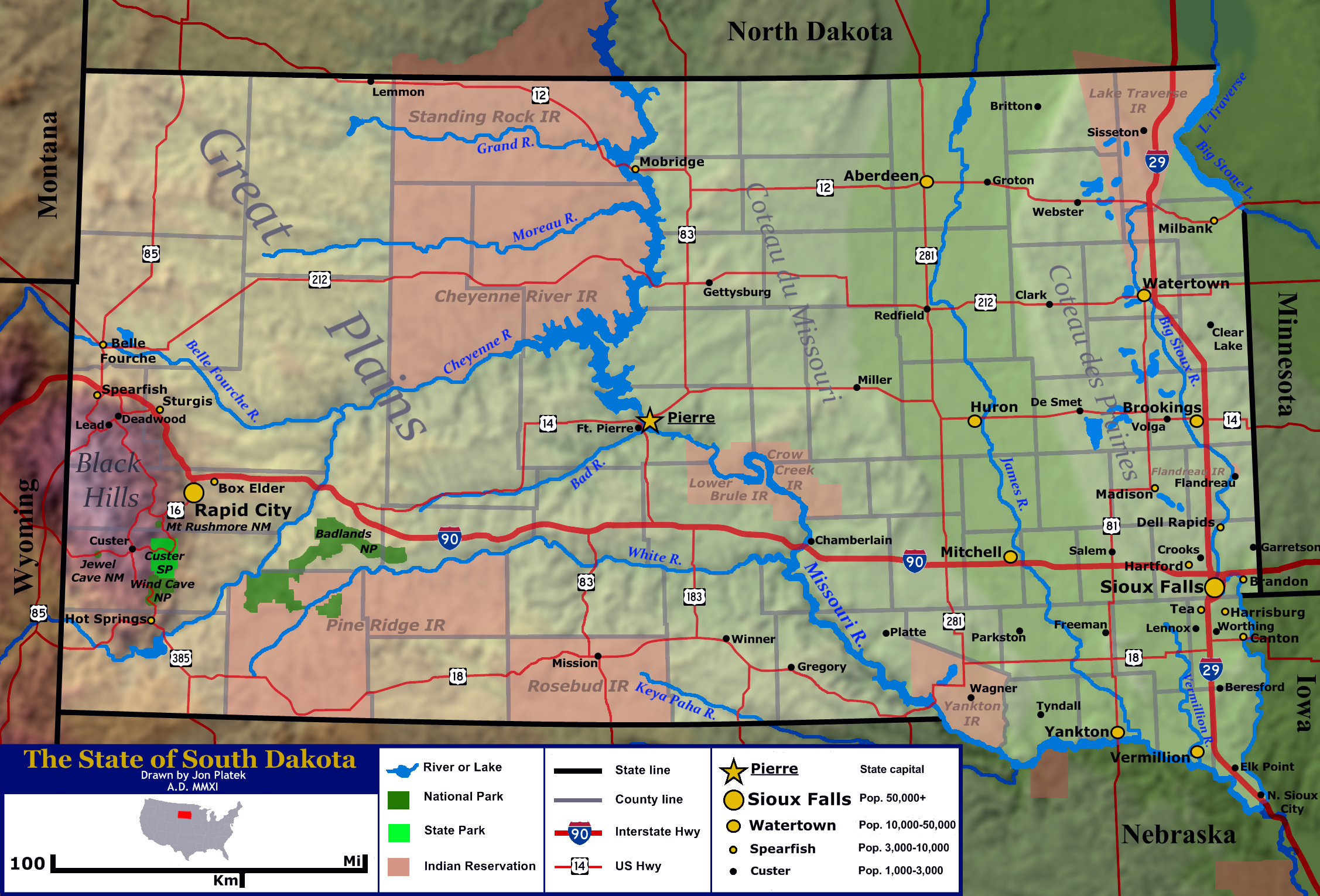 Large General Map Of The State Of South Dakota With Relief