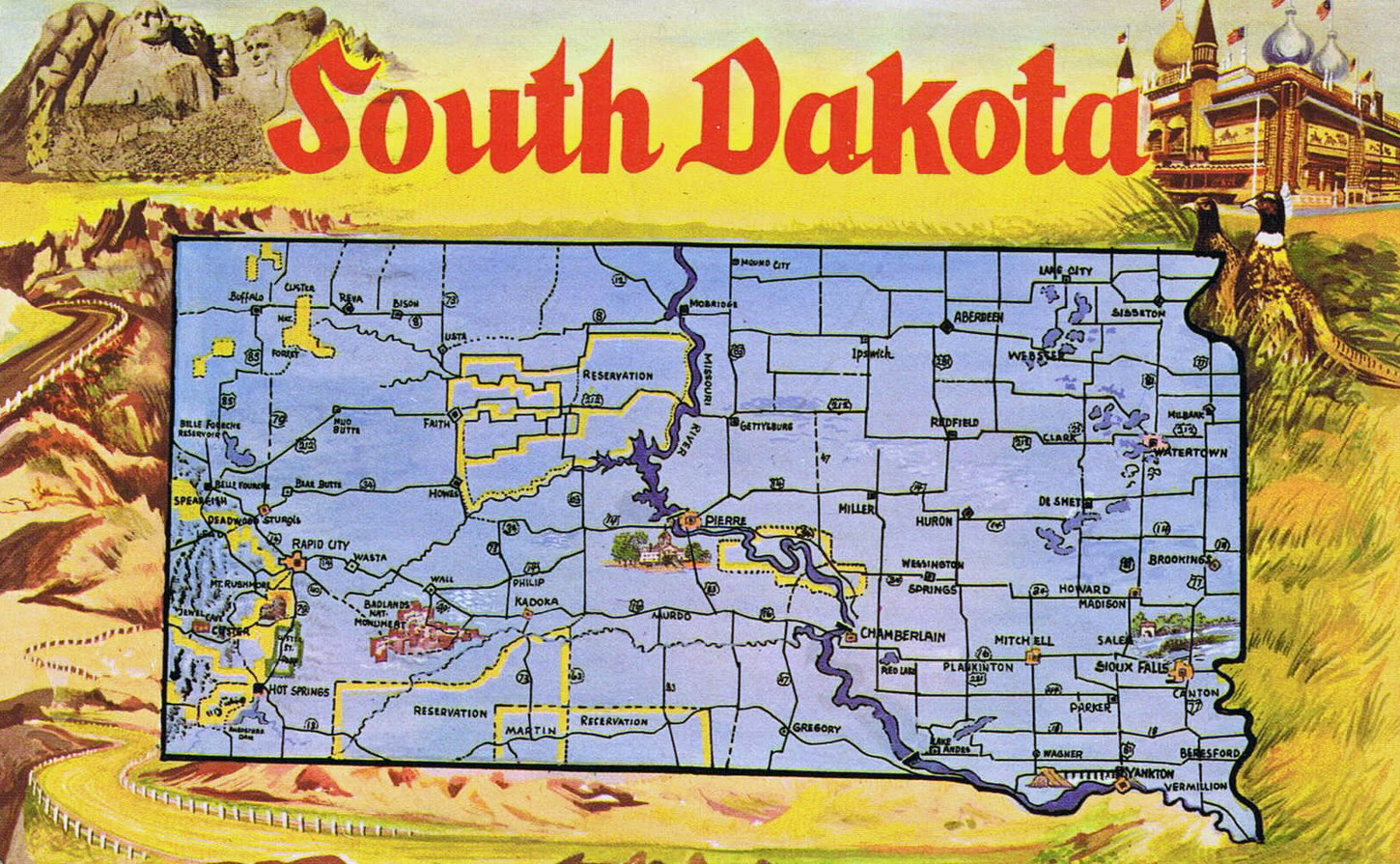 Large tourist illustrated map of South Dakota state Vidianicom