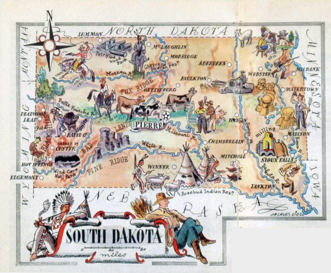 Large tourist illustrated map of the state of South Dakota – South Dakota Tourist Map