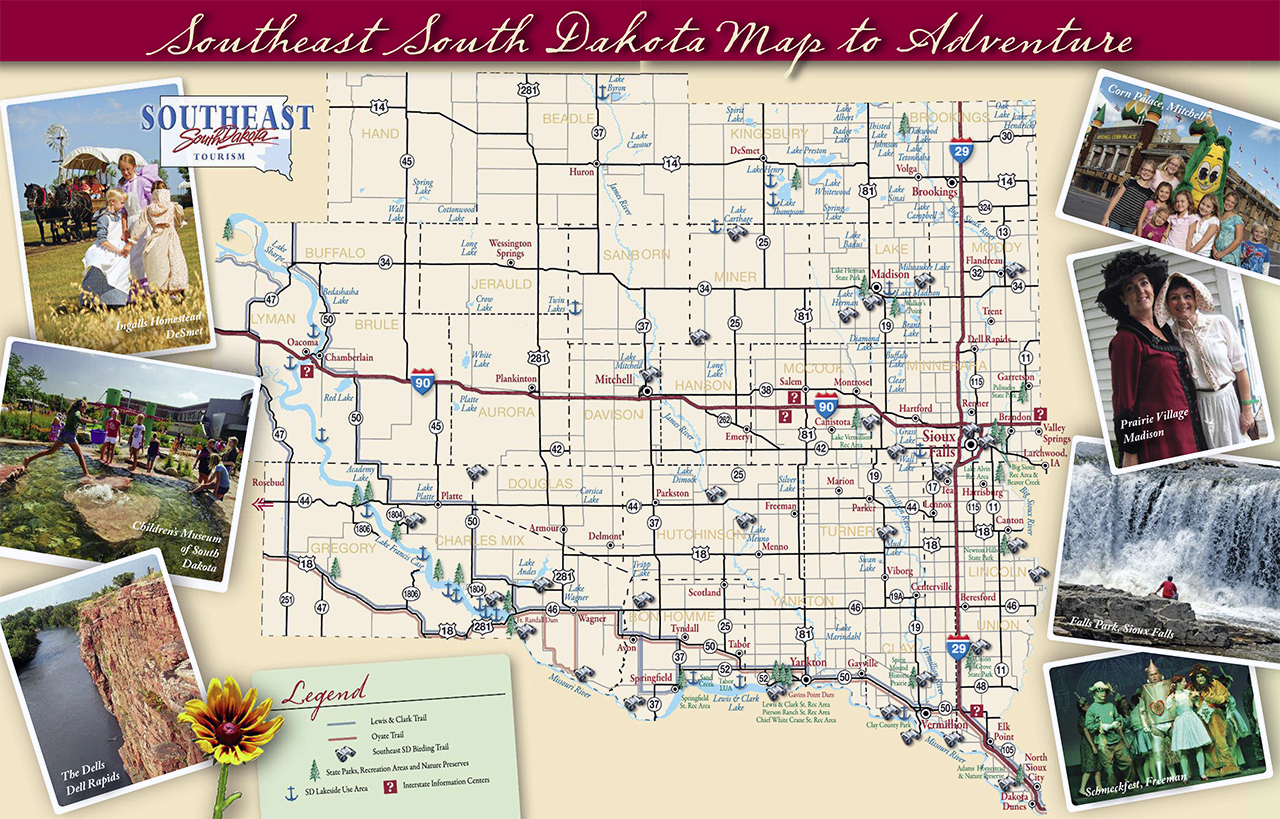 Large tourist map of South Dakota state The state of South Dakota – South Dakota Tourist Map