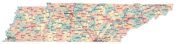 Large administrative map of Tennessee state with roads, highways and cities.