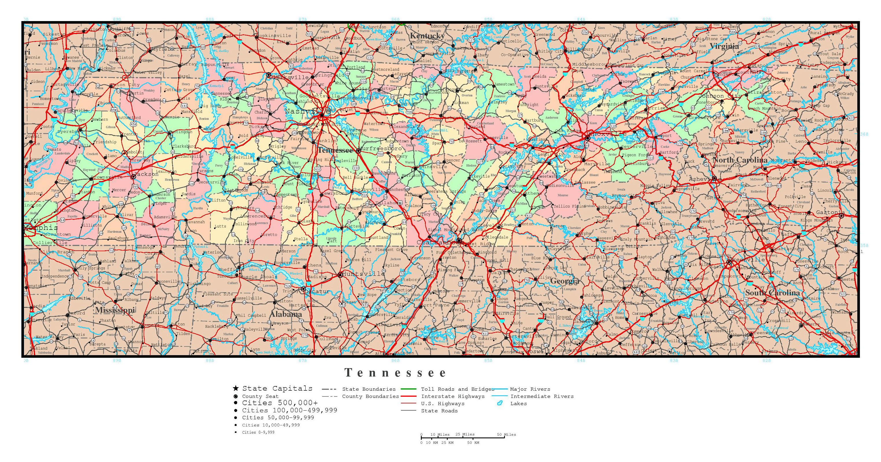 State Map Of Tennessee With Cities.Large Detailed Administrative Map Of Tennessee State With Roads