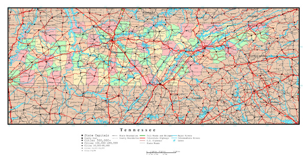 Large detailed administrative map of Tennessee state with roads, highways and all cities.