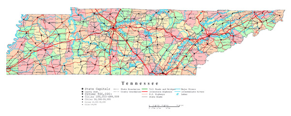 Large detailed administrative map of Tennessee state with roads, highways and cities.