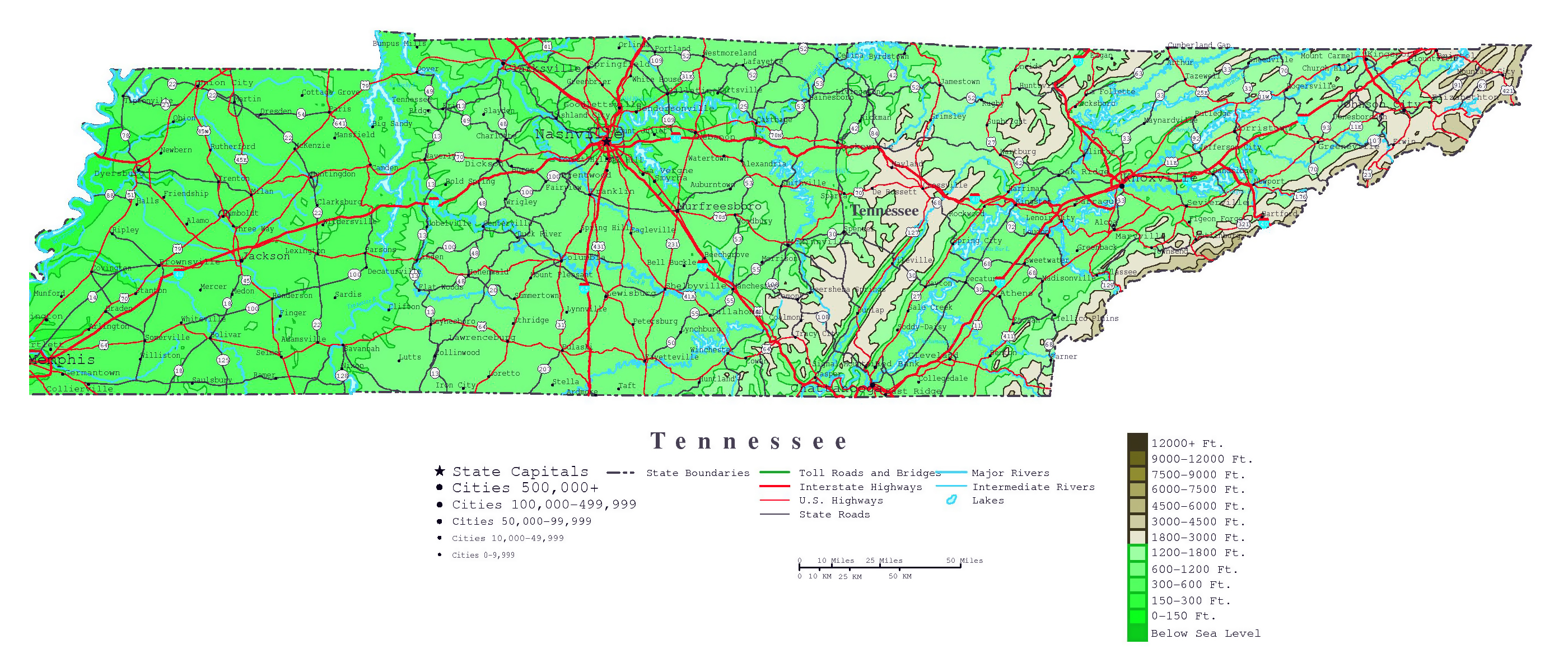 Large detailed elevation map of Tennessee state with roads, highways ...