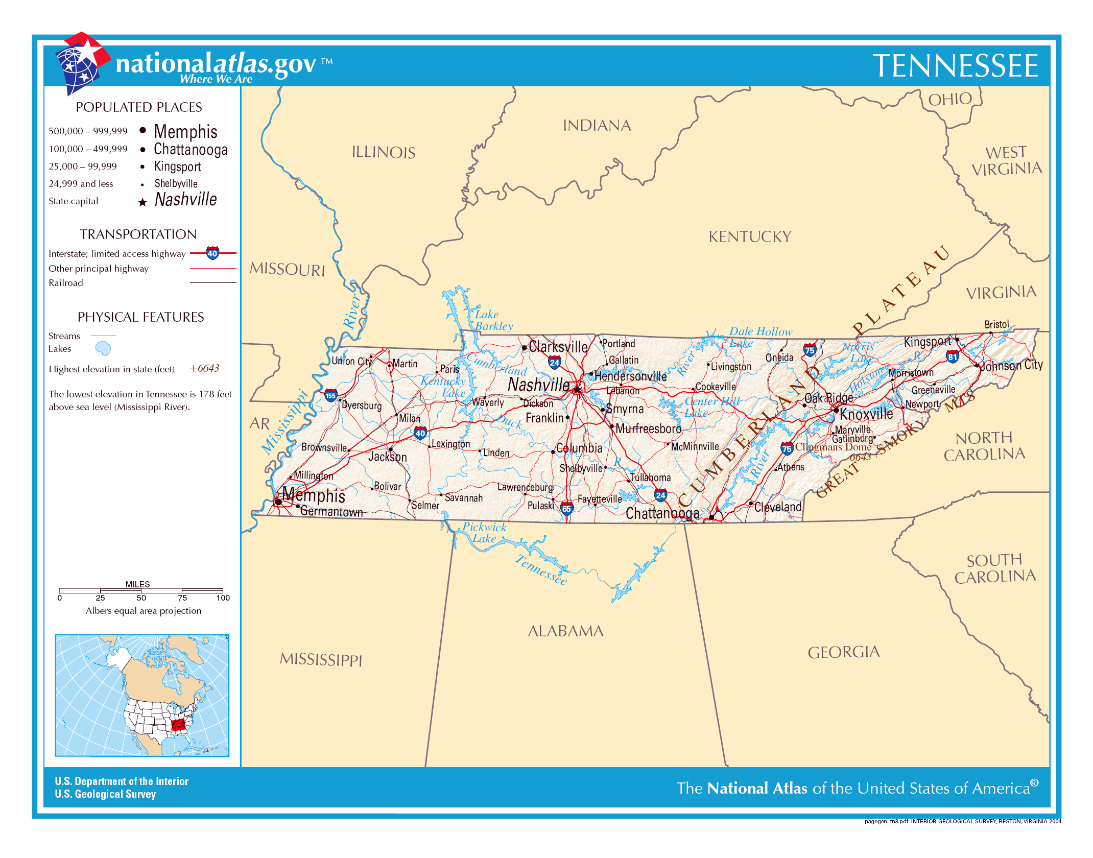 Large detailed map of Tennessee state The state of Tennessee large
