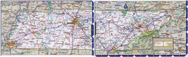 Large detailed roads and highways map of Tennessee state with all cities.