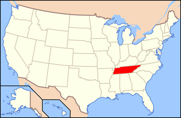 Large location map of Tennessee state. Tennessee large location map.