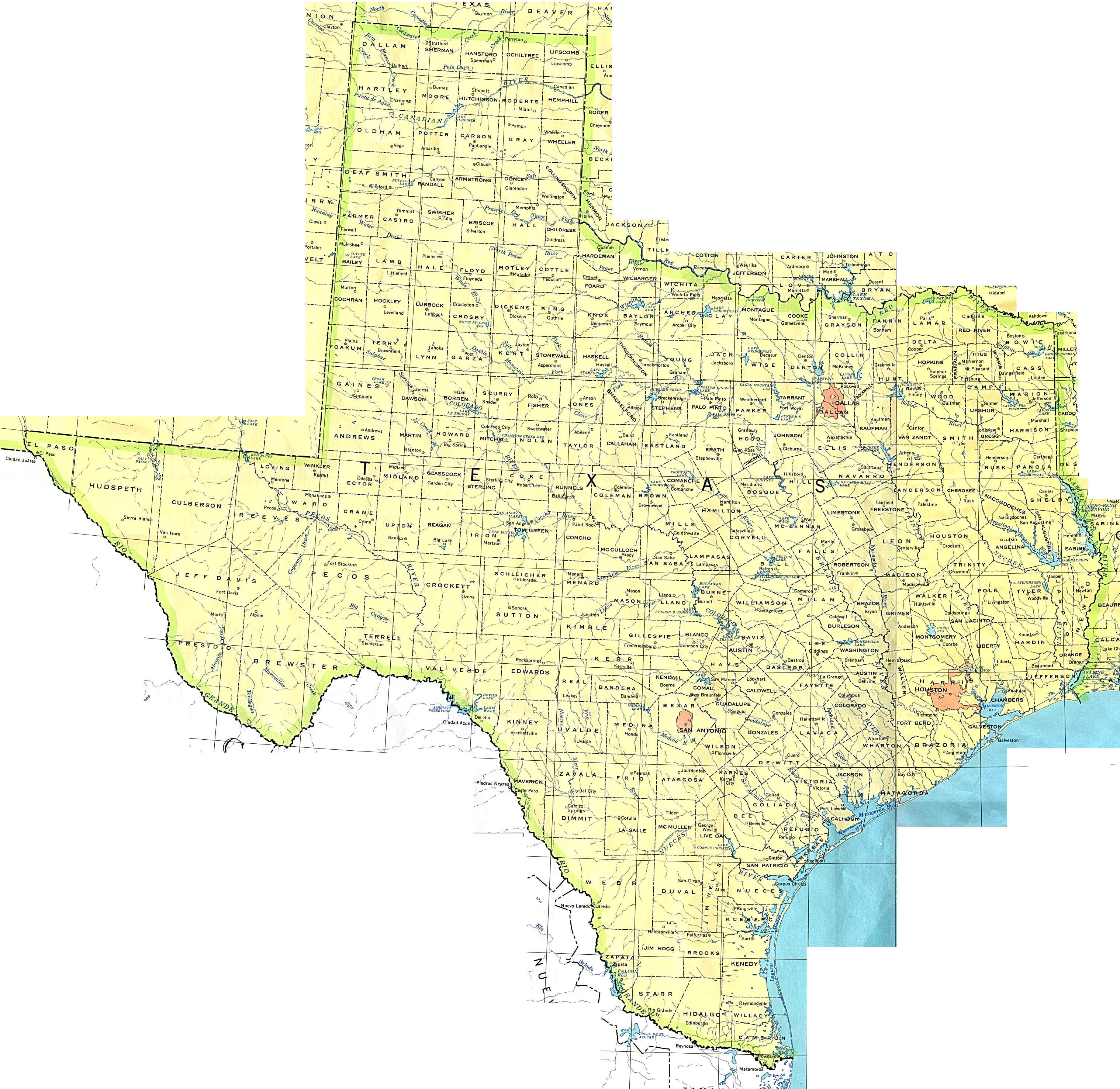 Detailed map of Texas state The state of Texas detailed map