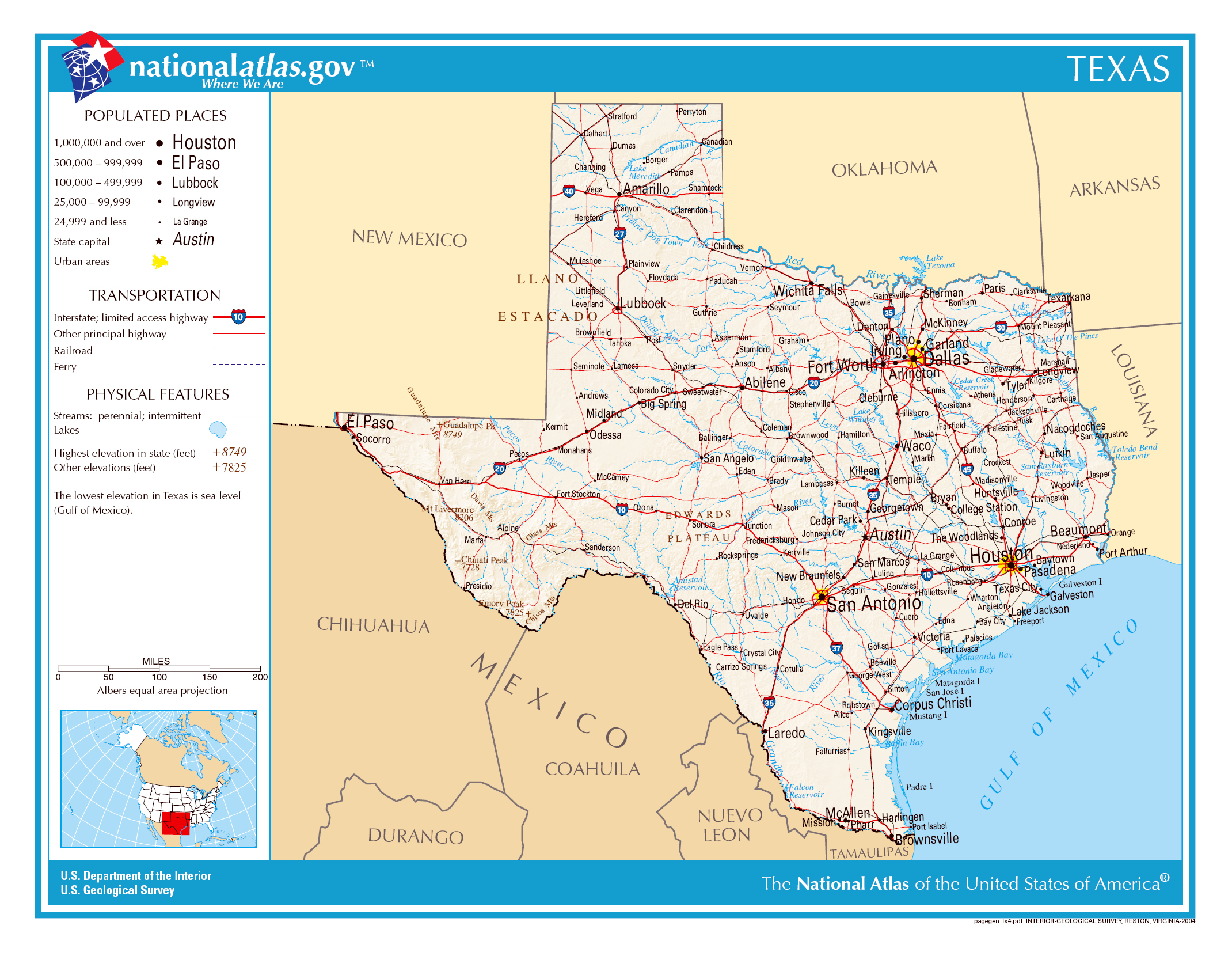 Large detailed map of Texas state The state of Texas large