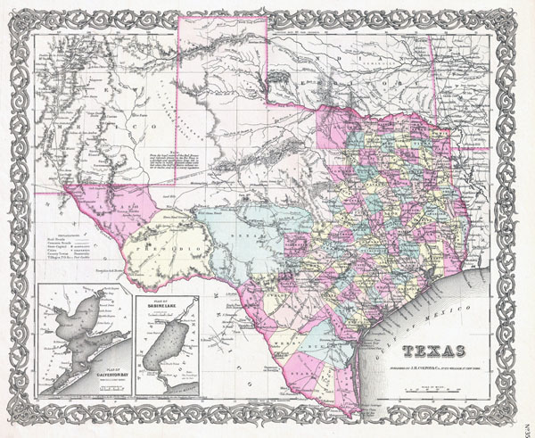 Large detailed old administrative map of Texas state - 1855.
