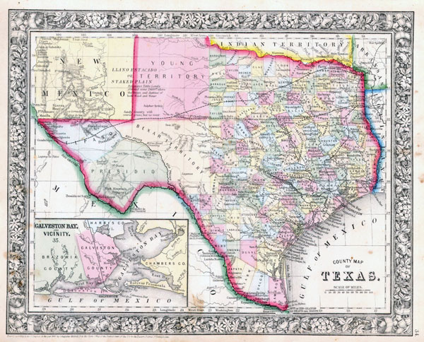 Large detailed old administrative map of Texas state - 1864.