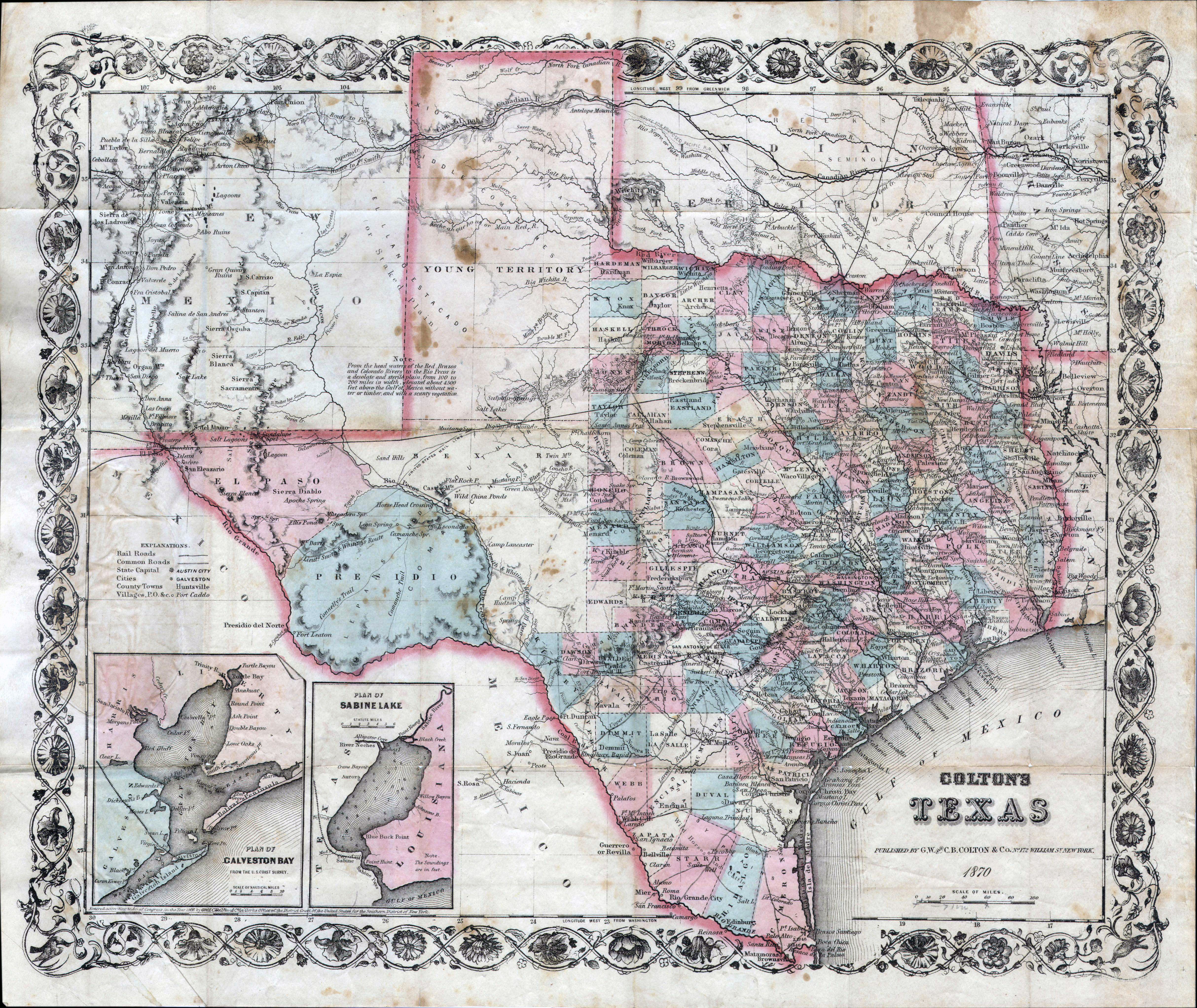 Large detailed old administrative map of Texas state – 1870